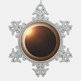 Total Solar Eclipse Snowflake Pewter Christmas Ornament