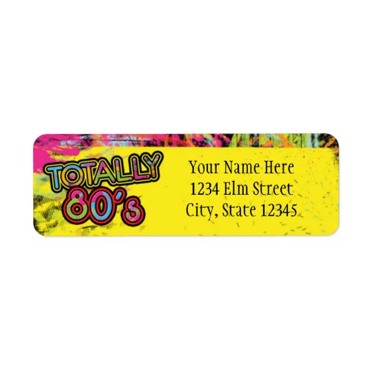 Totally 80's Birthday Party Retro Address Label