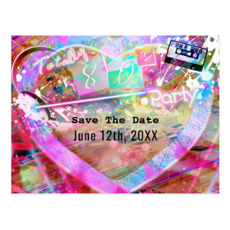 Totally 80's Bright Fun Heart Party Save the Date Postcard