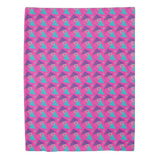Totally 80's Hot Pink Retro Triangles Geometric Duvet Cover