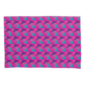 Totally 80's Hot Pink Retro Triangles Geometric Pillowcase