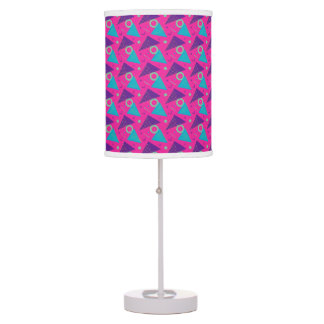 Totally 80's Hot Pink Retro Triangles Geometric Table Lamp