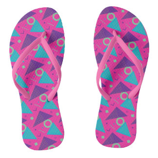 Totally 80's Hot Pink Triangles Geometric Flip Flops