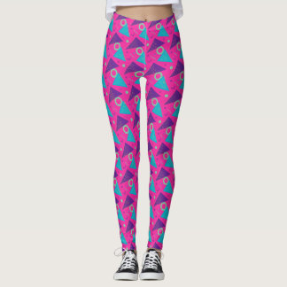 Totally 80's Hot Pink Triangles Geometric Leggings
