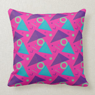 Totally 80's Hot Pink Triangles Geometric Throw Pillow