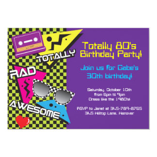 Totally 80's theme birthday party invitations