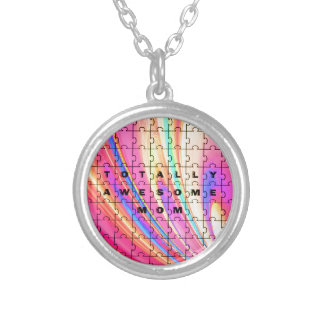 Totally Awesome Mom  Pink Swirl Puzzle Design Silver Plated Necklace