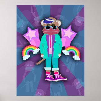 Totally Eighties Sock Monkey Poster
