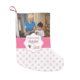 Totally Fabulous Granny with Pink Polka Dots Small Christmas Stocking