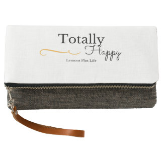 """Totally Happy"" Charcoal & White Fold Over Clutch"