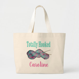 Totally Hooked crochet personalised with your name Large Tote Bag