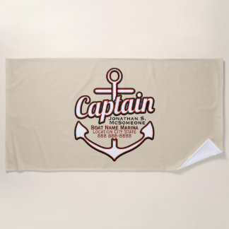Totally Personalized Captain Anchor Nautical Beach Towel