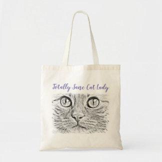 Totally Sane Cat Lady Artsy Tote Bag