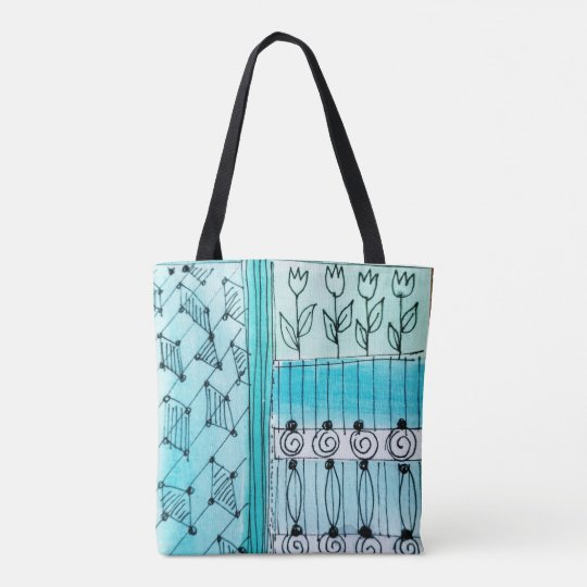 Tote Bag, abstract tulip design, blues