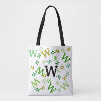 Tote Bag (ao) - Jumbled Letters in Green