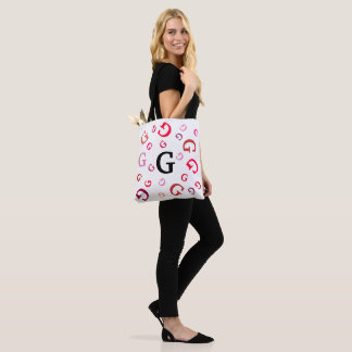 Tote Bag (ao) - Jumbled Letters in Reds