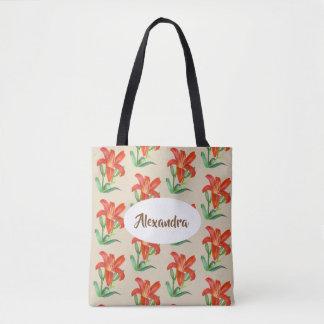 Tote Bag Art floral de lis orange d'aquarelle