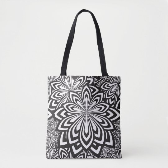Tote Bag Black and White Psychedelic Pattern