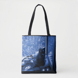 Tote Bag: Cat at Window - Midnight Blue Monochrome