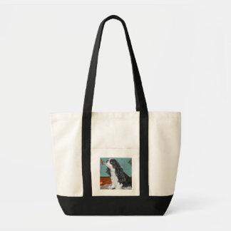 Tote bag, cavalier spaniel motif, aqua