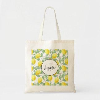 Tote Bag Citrons jaunes avec le monogramme vert de motif de