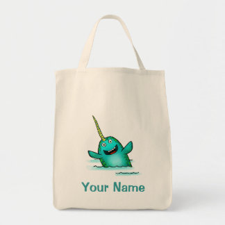 Tote Bag, Cute Narwhal Cartoon, Use Your Name!