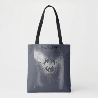 tote bag dark blue with skull spider