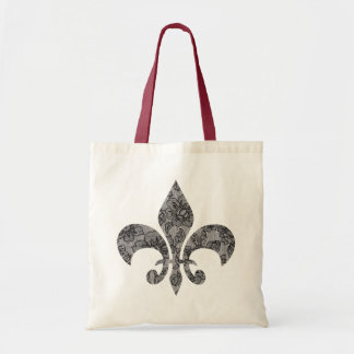 Tote Bag Lace Fleur De Lis noire