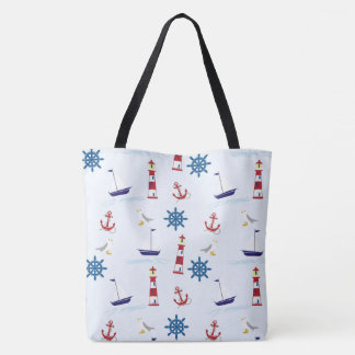 tote bag lighthouse seagull beach boat