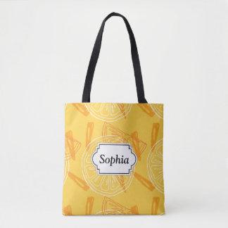 Tote Bag Motif d'été dessiné par citrons jaunes lumineux