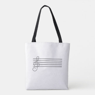 Tote bag, music notes and staff