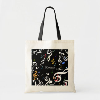 tote bag of musical notes with name