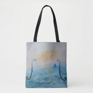 Tote Bag Original Painting Violin and Ocean theme