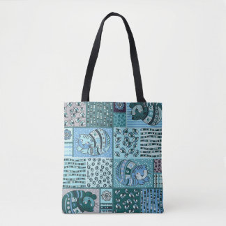 Tote Bag - Patch Work Cat Pattern (Blue)