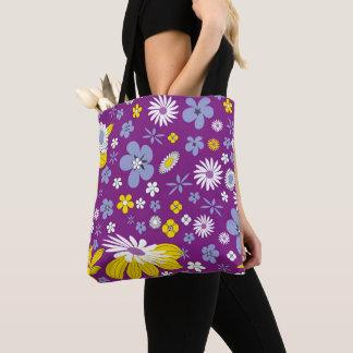 Tote Bag Purple Floral Design