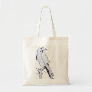 tote bag - raven on white