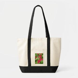 Tote Bag - Red Hollyhock Pattern