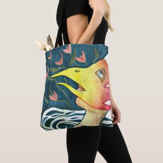 tote bag table woman bird