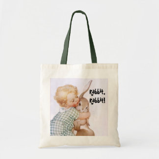 Tote Bag Vintage Child Hugs Rabbit, Rabbit! Sack
