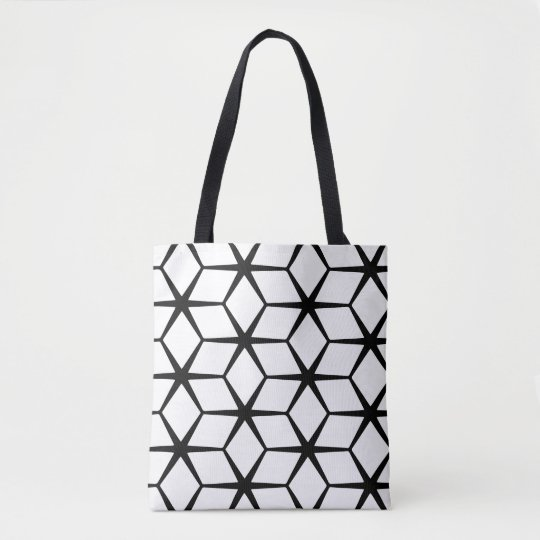 Tote Bag: White & Black Geometric