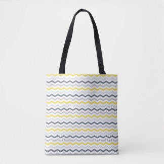 Tote Bag - White, Yellow & Grey Zigzags