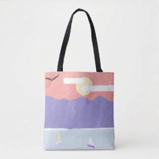 Tote Bag with a Mountain/Ocean Scene