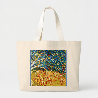 tote bag with abstract multicolor tree art