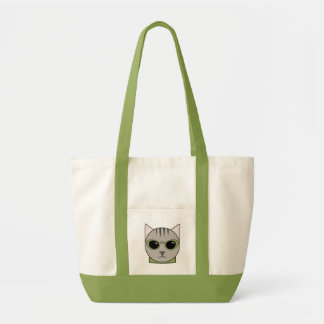 Tote Bag with Cat Wearing Lime Green Sunglasses
