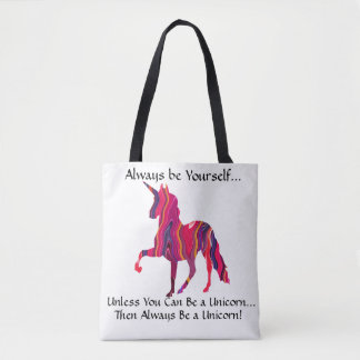 Tote Bag with Colorful Unicorn - Be Yourself