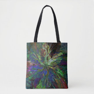 Tote Bag with Floral Fractal Design