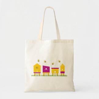 Tote bag with flying Bees
