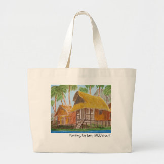 Tote Bag with Grass Huts by Jerry Middlekauff