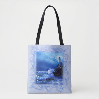 Tote Bag with Lighthouse and Ocean