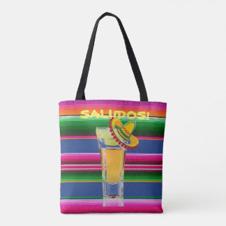 Tote Bag with Mexican Blanket and Tequila